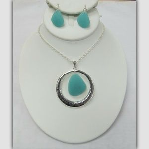 Silver Green Sea Glass Charm Necklace Jewelry Set